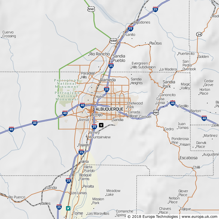 Map of Albuquerque, United States from the Global 1000 Atlas