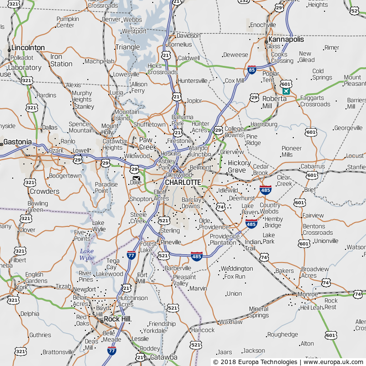 Map of Charlotte, United States from the Global 1000 Atlas