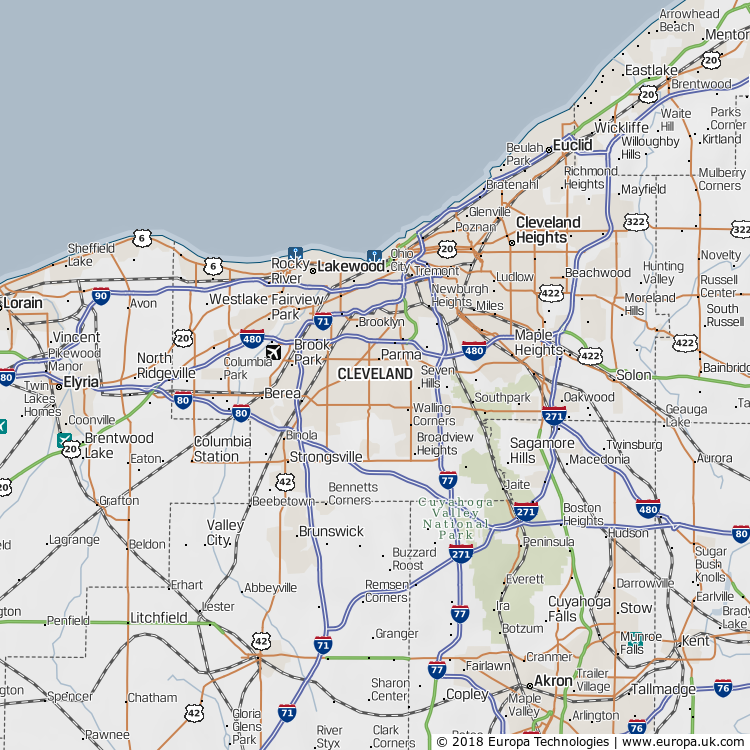 Map of Cleveland, United States from the Global 1000 Atlas