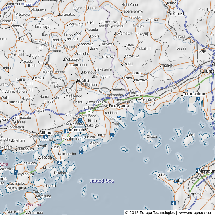 Map of Fukuyama, Japan from the Global 1000 Atlas