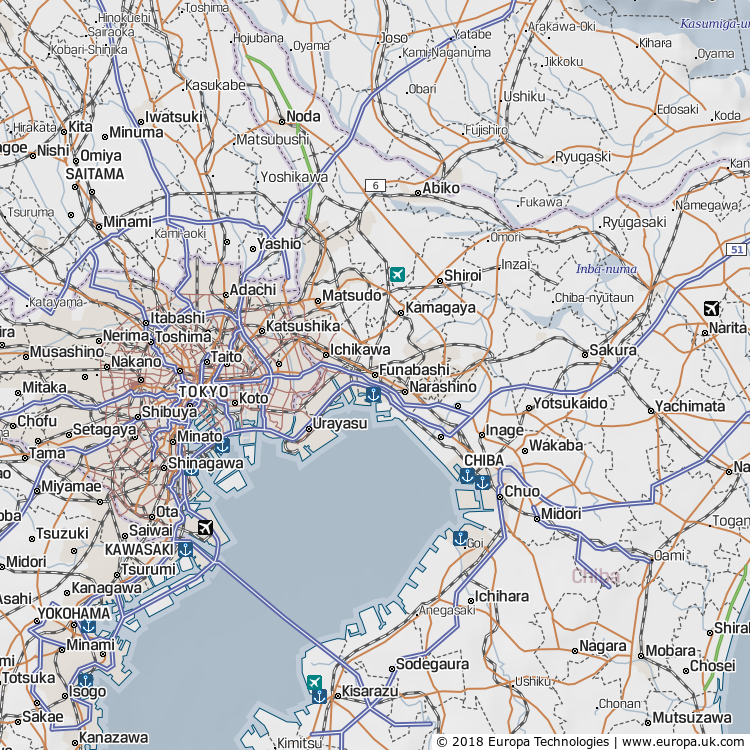 Map of Funabashi, Japan from the Global 1000 Atlas