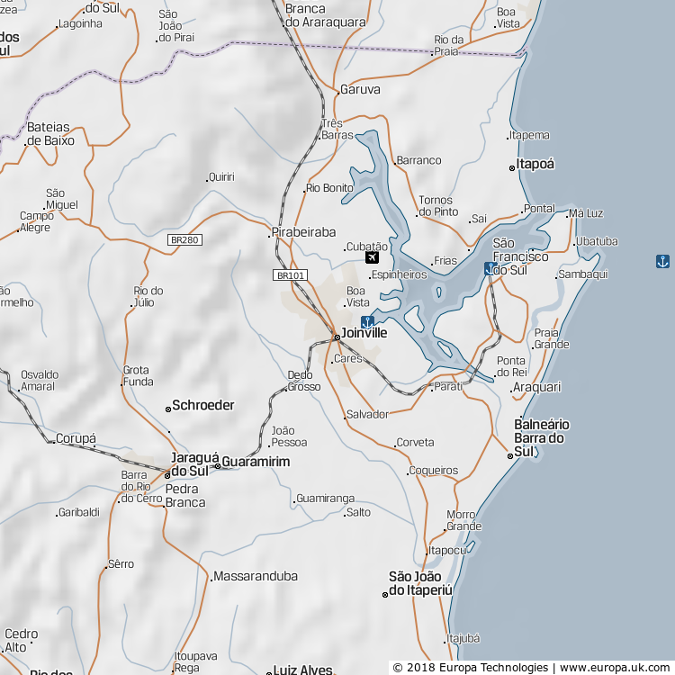Map of Joinville, Brazil from the Global 1000 Atlas