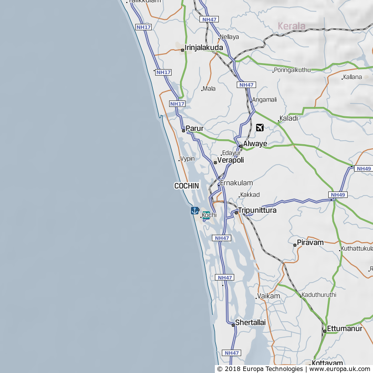 Map of Kochi (Cochin), India from the Global 1000 Atlas
