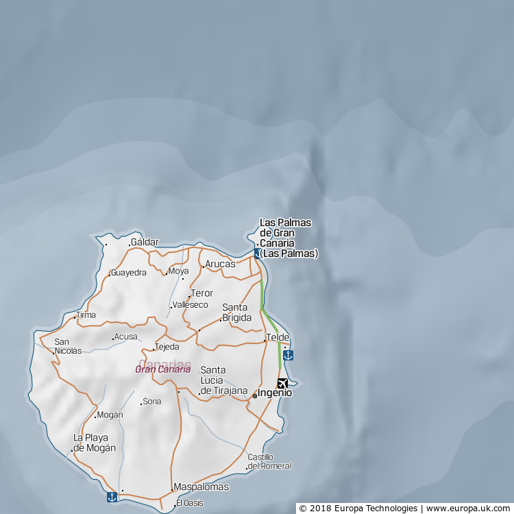 Map of Las Palmas de Gran Canaria, Spain from the Global 1000 Atlas