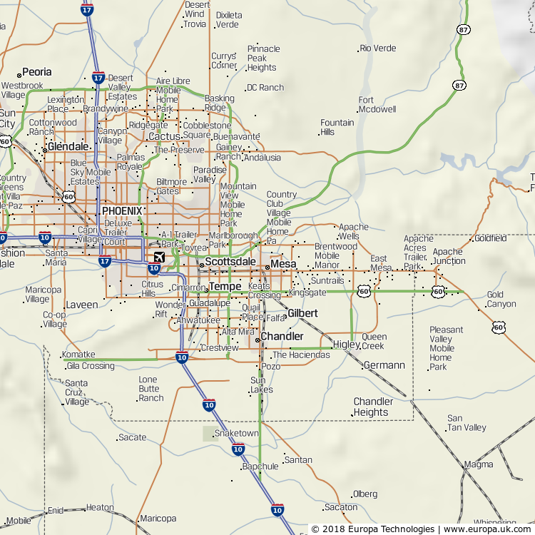 Map of Mesa, United States from the Global 1000 Atlas