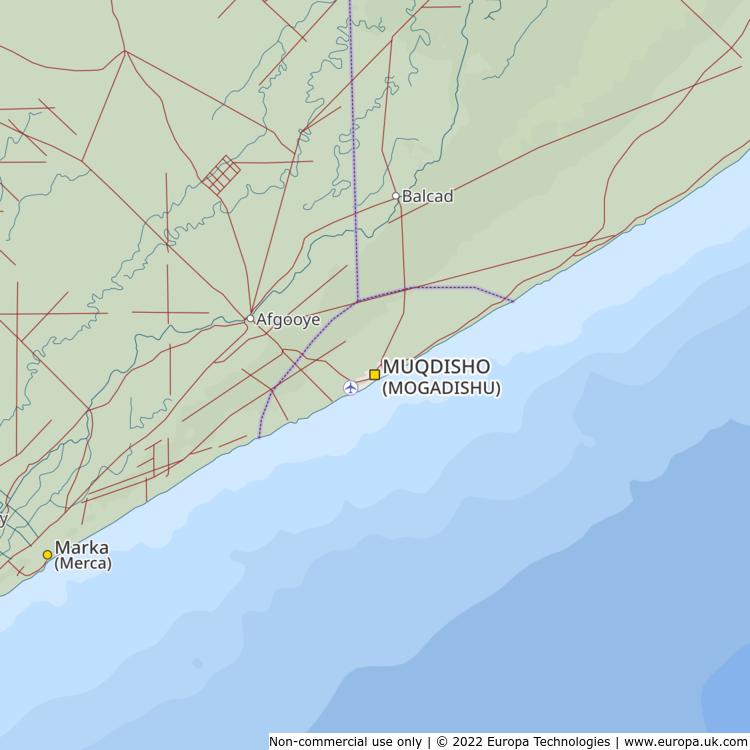 Map of Muqdisho (Mogadishu), Somalia from the Global 1000 Atlas