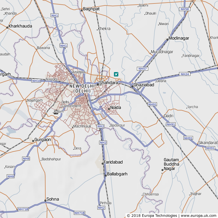 Map of Noida, India from the Global 1000 Atlas