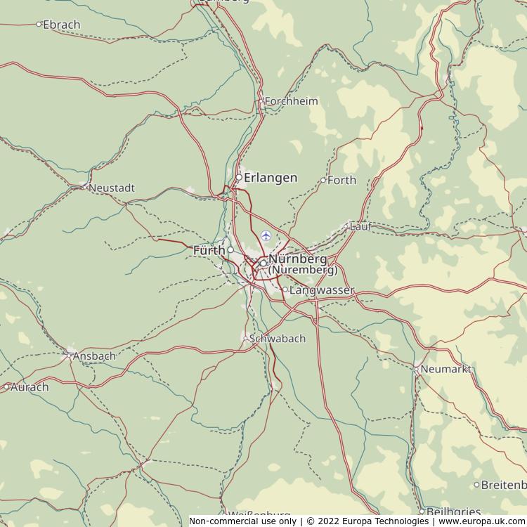 Map of Nürnberg (Nuremberg), Germany from the Global 1000 Atlas