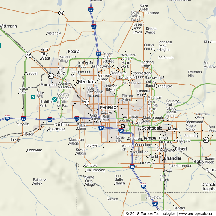 Map of Phoenix, United States from the Global 1000 Atlas
