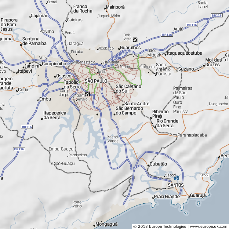 Map of São Bernardo do Campo, Brazil from the Global 1000 Atlas