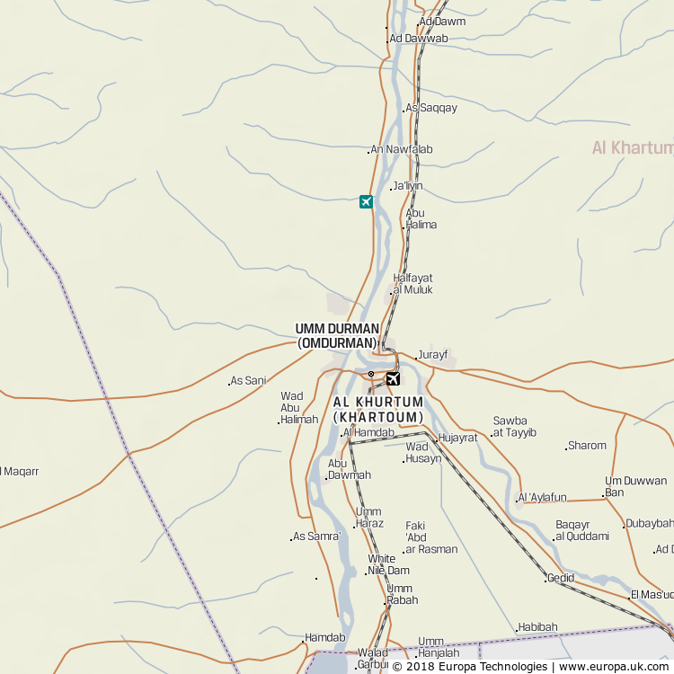 Map of Umm Durmān (Omdurman), Sudan from the Global 1000 Atlas